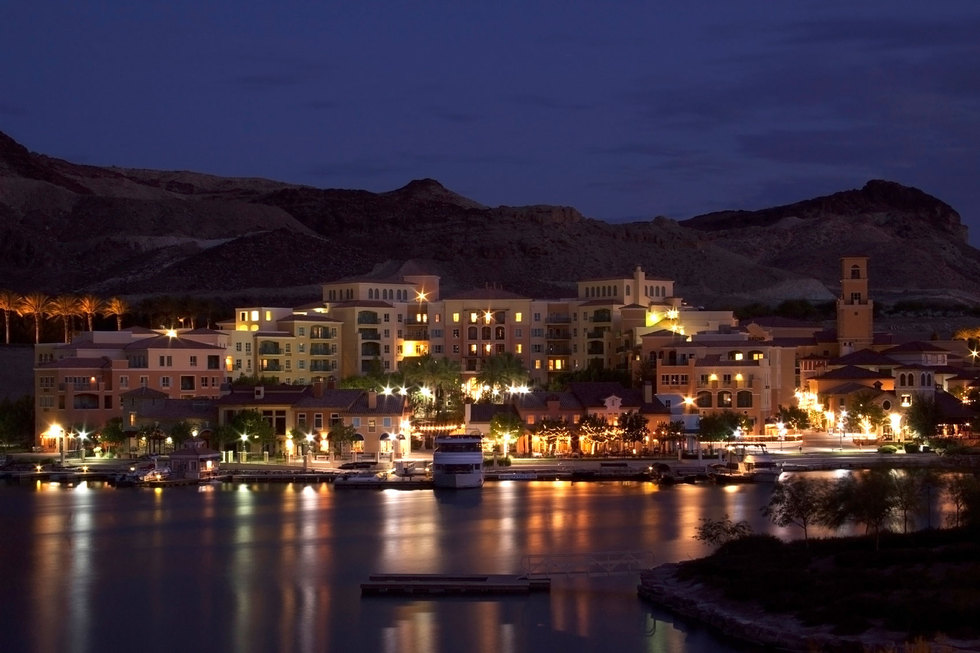Lake las vegas community at night