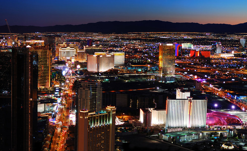 Las vegas strip aerial sunset2