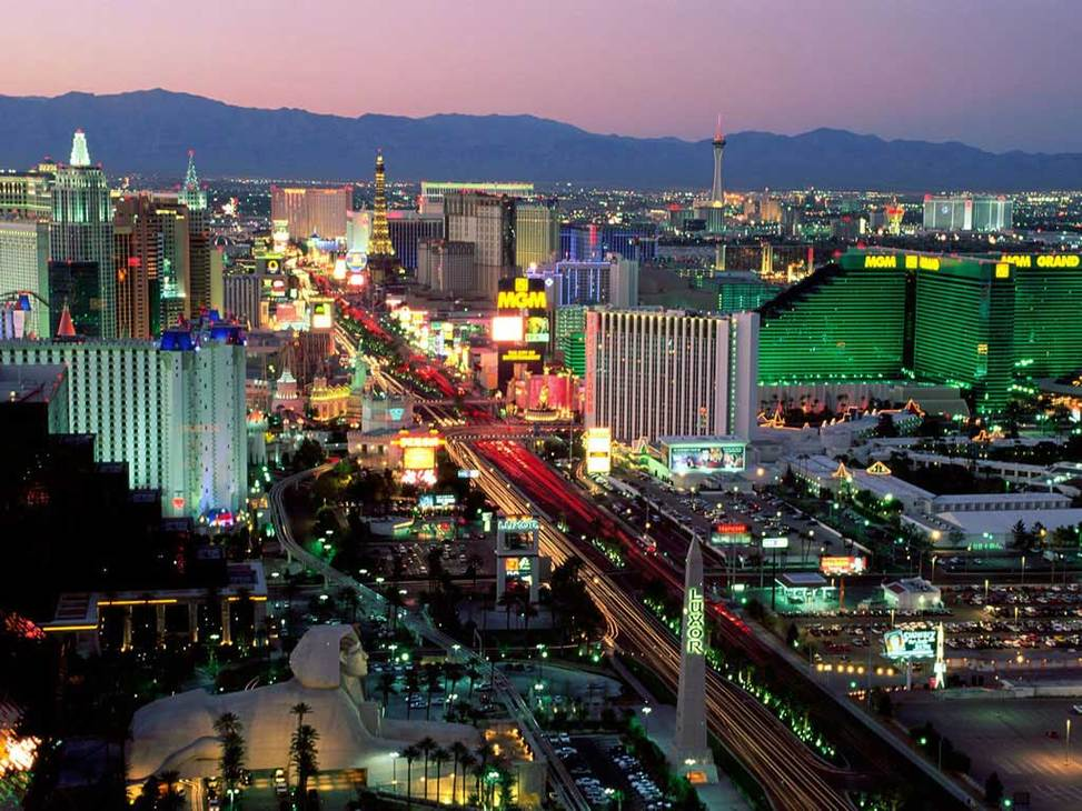 Las vegas strip aerial sunset3